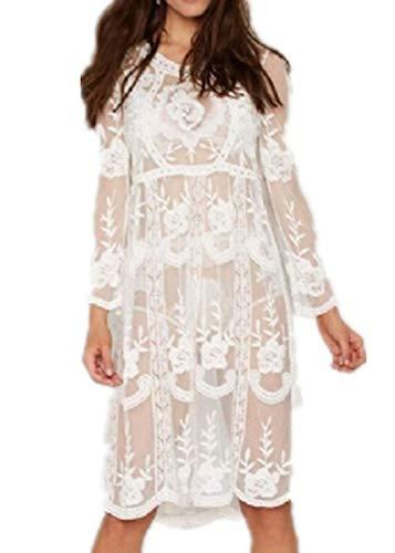 comeondear Damen Strandkleid Sommer Spitzen Transparent Langarm Bikini Cover Up Gestrickte Sommerkleid Badeanzug Beachwear Weiß