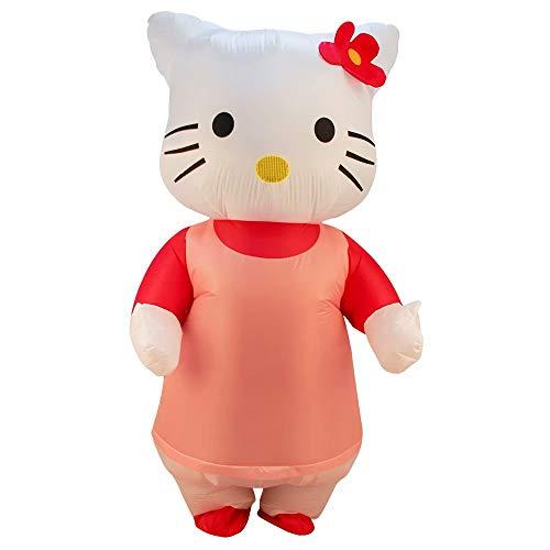 Womens Hello Kitty Aufblasbares Kostüm Adult Deluxe Kostüm Halloween Kostüm Blow Up Party Cosplay mit Luftgebläse - 160-190 cm - Hello Kitty Cosplay Kostüm