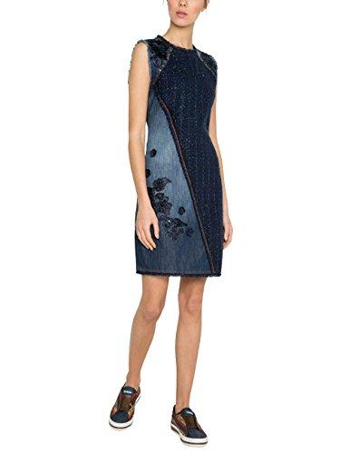 Desigual Damen Kleid VEST_ACHILLE Knielang, Blau (Denim Dark Blue 5008), 38 (Herstellergröße: 40) -