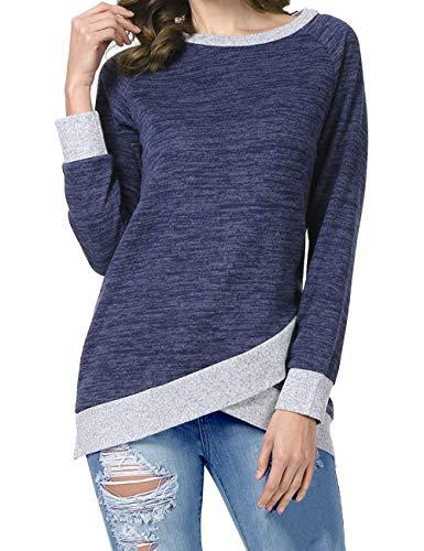 Odosalii Damen Langarm Patchwork Sweatshirt Pullover Casual T-Shirt Asymmetrisch Saum Tunika Tops, Königsblau, M