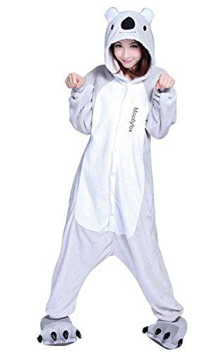Moollyfox Unisexe Anime Halloween Cosplay Kigurumi Pajamas Onesie Fleece Hoodies Costume de Deguisement Combinaison Adulte Ensemble de Pyjama Motif animaux (S, Koala)