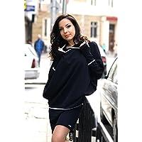 Damen Sportliches Elegant Kleid, Farbe Schwarz, Damen Kleid Mit Kapuze, Lange Ärmel, 100% Baumwolle, XL / 2XL Größe