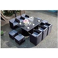 Mon Usine LSR-310-BK/GR 6C4F Le Vito Salon jardin encastrable en résine Noir 180 x 115 x 73 cm