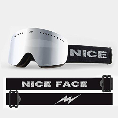 SE7VEN Occhiali da sci skate,Climbing Doppio strato Anti-nebbia Lente senza telaio Occhiali Maschere da sci bambini-A