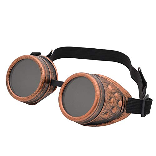 Dfghbn Retro Vintage viktorianischen Steampunk Brille Brille Schweißen Cyber   Punk Gothic Cosplay (Farbe : Copper, Größe : Free Size)