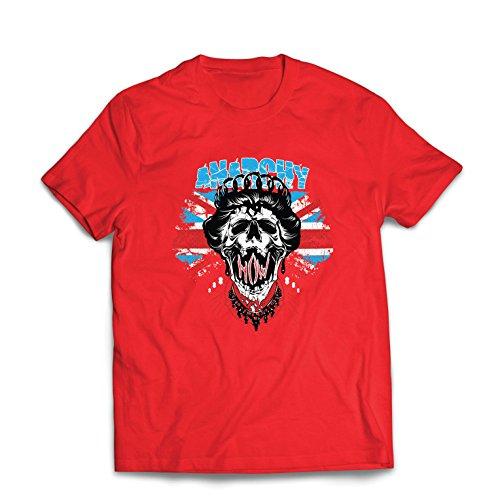 lepni.me Männer T-Shirt Anarchie-Königin, Straßenmode, anarchistisches Symbol, antipolitische Kunst (X-Large Rot Mehrfarben)