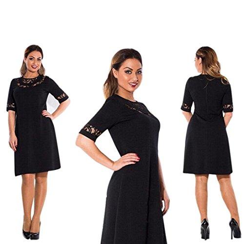 Rcool Plus Größen-Frauen O-Ansatz Spitze-Kleid-lange Abend-Cocktailparty-formales halbes Hülsen-Kleid (XL, Schwarz)