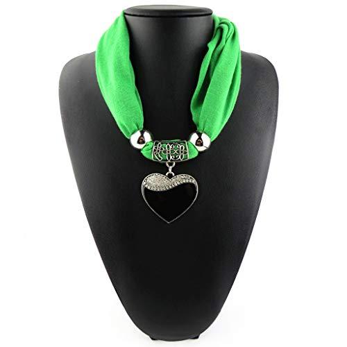 (GROOMY Ethnic Style Frauen Schal Herz Anhänger Halskette Anhänger Naturstein Schmuck Schal Leopard Muster Schal - Grün)
