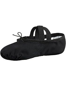 tanzmuster Ballettschuhe / Ballettschläppchen aus Leinen, geteilte Ledersohle, für Kinder und Erwachsene in weiß...