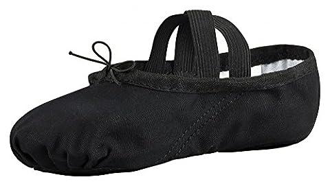 Demi-pointes en toile - bi-semelle en cuir - danse classique - noir - 38