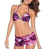 Yvelands Damen Bademode Beachwear gedruckt 2 Stück Bikini Set Badeanzug(CN-XL,Heiß rot)