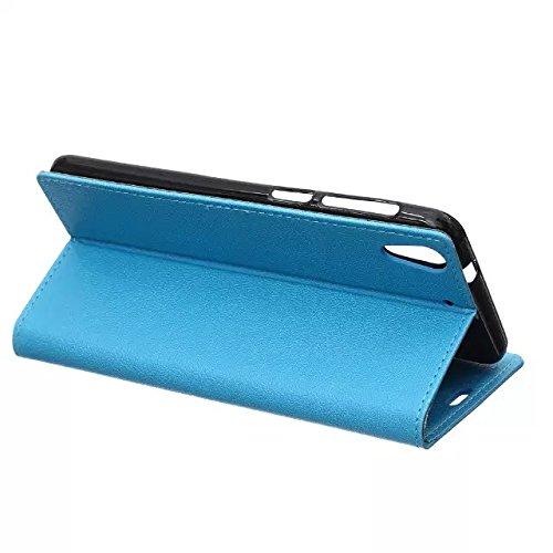 Kas Texture Pattern Horizontal Flip Stand Case Solide Farbe Leder Tasche mit Karte Cash Slots für HTC Desire 728 ( Color : Blue , Size : HTC Desire 728 ) Blue
