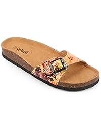 Ideal Shoes - Nu-pieds vernis avec imprimé fleuri Salma