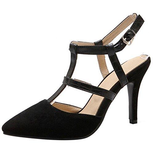 COOLCEPT Damen Mode T-Spangen Sandalen Stiletto Cut Out Geschlossene Slingback Schuhe Schwarz