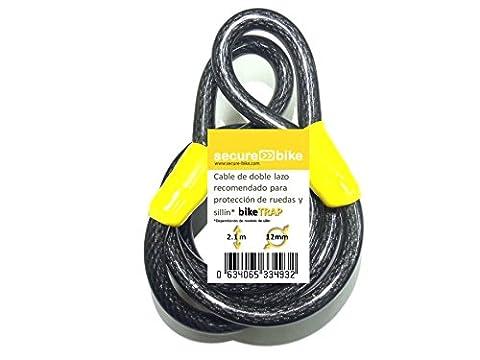 Antivol vélo: Câble 2,1 m x 12 mm en acier à double boucle d´haute sécurité pour support et cadenas antivol biketrap …
