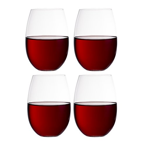 Europäischen ohne Stiel weiß Wein Tassen (4er Set) Classic Verarbeitung, elegante Hosting Glaswaren |modern, schwere Borosilikat Glas Kristall | Spülmaschinenfest 11.8oz. (je)