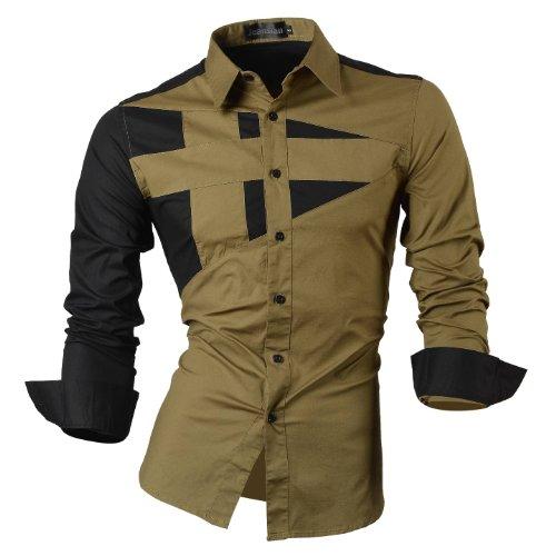 jeansian Herren Freizeit Hemden Shirt Tops Mode Langarmshirts Slim Fit 8397 Green