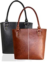 Fargo Fine Line PU Leather Women's Handbag Combo Of 2 (Black,Tan_FGO-088)