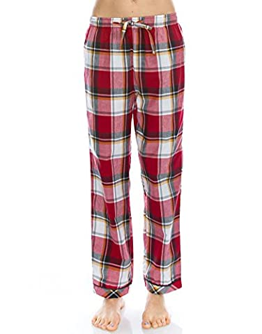 [FreeShipping]TINFL Women Soft 100% Cotton Flannel Pajama Lounge Sleep Pants PW-25-Red-M