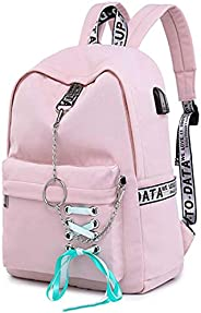 SAMAZ Teen Girl School Backpack with USB Charging Port 12-16 inch Laptop Bag Travel Rucksack Earphone Hole Fas