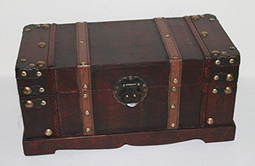 AAF Nommel®, Holztruhe Schatzkiste Nr. 274, Antikdesign im Kolonial Stil, ca. 37 x 17 x 14 cm