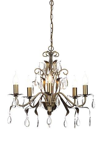 Ilumina Lagos Elegante y espectacular Lámpara de araña de metal y cristal, 5 luces, con diseño maravilloso en acero, latón envejecido (A++ a E)