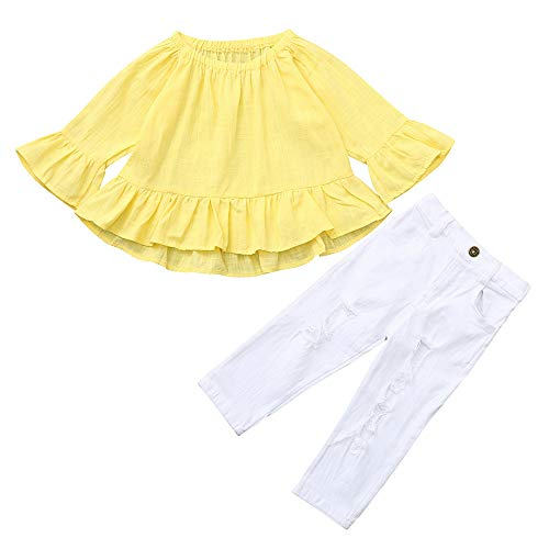 Kobay Babykleidung Mädchen Winter Kleinkind Kinder Baby Mädchen Feste Unregelmäßige Tops + Jeans Hosen Kleidung Sets(2-3T,Gelb)