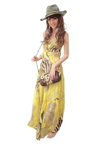 QIYUN.Z V-Ausschnitt Strandkleid Halfter Boho Damen Floralem Tunika Maxi Boho Klei gelb 9