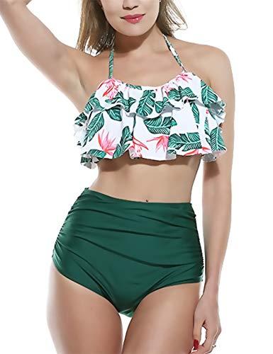 SELENECHEN Damen Bikini Set Badeanzug Damen Sexy High Waist Bademode Strandbekleidung Badeanzug mit Volant Neckholder Bikini Oberteil und Bikinihose (Green, XL)