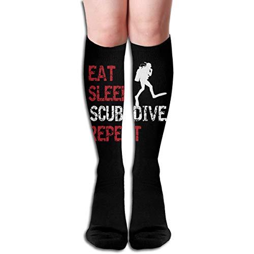 Ljkhas232 Long Socks, Scuba Dive Repeat Knee High Socks, Unisex Tube Compression Thigh Sock Crew Athletic Football Stockings - Diva Trockner