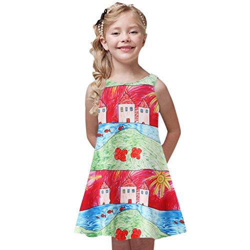 Mädchen Kleid Sommer i-uend Kleinkind Mädchen Sommer Blumendruck Prinzessin Kleid Kinder Baby Ärmelloses Freizeitkleid Kinder Grils O Neck Sommerkleid Party Kleider Minikleid (Für Grils Kleid)
