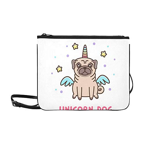 WYYWCY Niedlichen Hund Mops Breed Unicorn Kostüm Benutzerdefinierte hochwertige Nylon Slim Clutch Crossbody Tasche Umhängetasche (Benutzerdefinierte Kostüm Frauen)