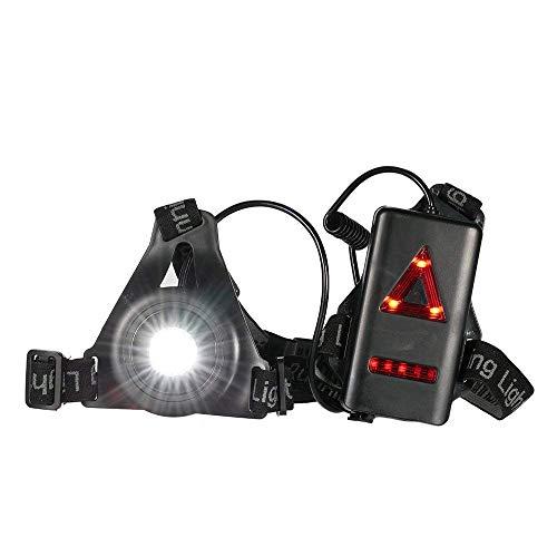 Petto running Light, USB ricaricabile LED Night running torcia lampada con removibile Bardella per corridori, jogging, sport all' aperto, campeggio, escursionismo, Taglia libera Nero
