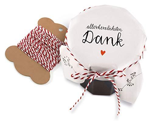 25 Marmeladendeckchen - allerherzlichsten Dank ♥ | Gläserdeckchen Weiß mit Blumen für Marmelade, Marmeladengläser & Einmachgläser | Recyclingpapier Abreißblock + 10 m Garn + Justiergummi Vintage-kompott