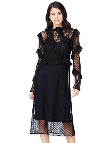FIND Vestido Semitransparente de Encaje y Lunares para Mujer, Negro (Black), 38 (Talla del Fabricante: Small)