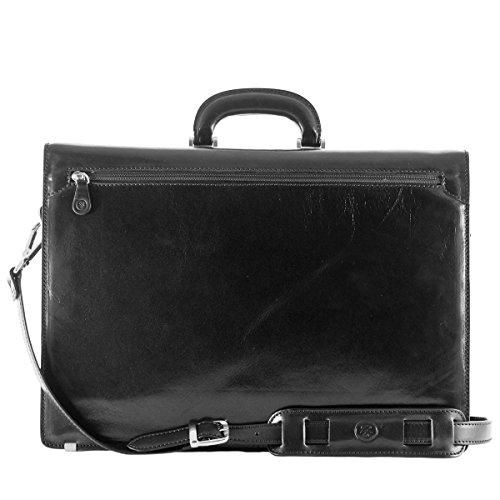 Maxwell Scott Bags® PERSONNALISABLE! Cartable Cuir Fermeture Boucle Noir (Tomacelli) Noir