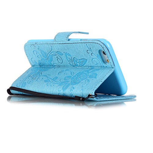 Etsue Glitzer Schutzhülle für iPhone 6 Plus/6S Plus Leder Flip Case Lanyard Strap Design, [Rose Blumen Floral Schmetterling] Muster 3D Bling Kristall Diamant Strass Wallet Cover Hülle Etui Handyhülle  Strass,Schmetterling,Rose,Blau