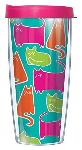 Vicki 's Katzen Neon Katzen On Teal Traveler Tumbler Becher mit Deckel 22 oz mehrfarbig -