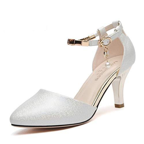 uirend Damen Pumps Schuhe - Knöchelriemen Party Sandalen Spitz Schnallen Peeling Elegant Hochzeit Tanz Hohl Sparkly