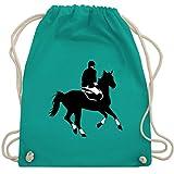 Shirtracer Reitsport - Dressur Pferd Reiter Dressurreiten - Unisize - Türkis - WM110 - Turnbeutel und Stoffbeutel aus Bio-Baumwolle