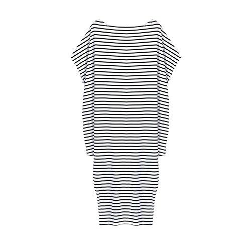 Moresave - Robe - Asymétrique - Manches Courtes - Femme Stripe