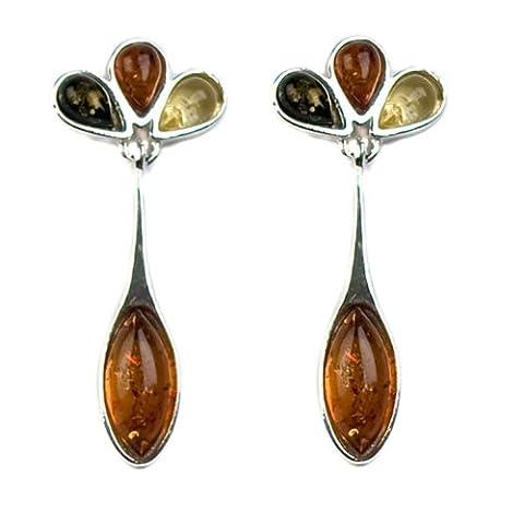 Noda Boucles d'oreilles ovales en ambre multicolore et argent