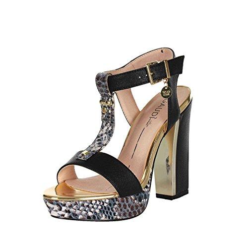 64611 NERO Scarpa donna sandalo plateau Gaudì nero e pitonato