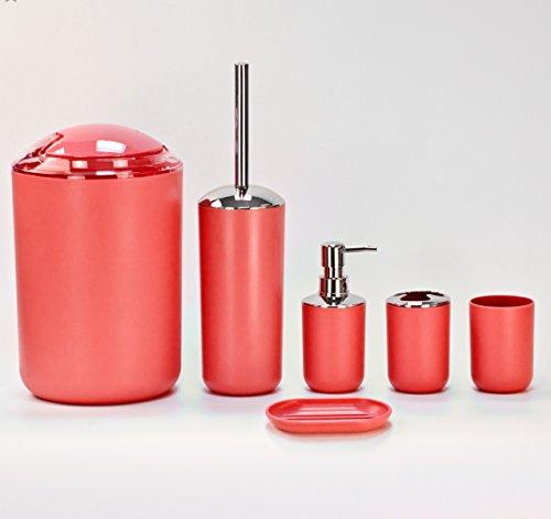 Badezimmer-Luxus-Zubehörset, 6-teilig, in Rot, Schwarz, Blau, Beige, Weiß oder dunkelgrau rot