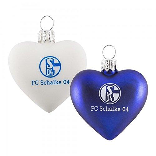FC Schalke Glas-Herz 2er Pack Blau und Weiß 6