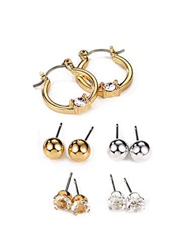 Paare Kostüme Gemischte (Neoglory Silber Gold Ohrstecker Set Kristall 5 Paare Balls Kugel Kreis gemischte Stile schlicht)