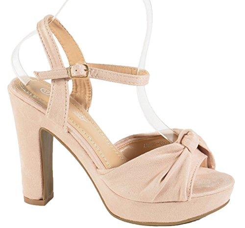Damen Riemchen Abend Sandaletten High Heels Pumps Slingbacks Velours Peep Toes Party Schuhe Bequem B67 (38, Beige BJ16)