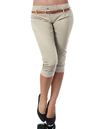 Diva-Jeans N945 Damen Stoffhose Chino Capri Hose Sommerhose Pumphose Gürtel Normaler Bund, Farben:Pink, Größen:S