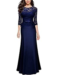 Miusol Damen Abendkleid 3/4 Arm Elegant Spitzen Kleid Brautjungfer Langes Cocktailkleid Navy Blau Gr.S-XXL