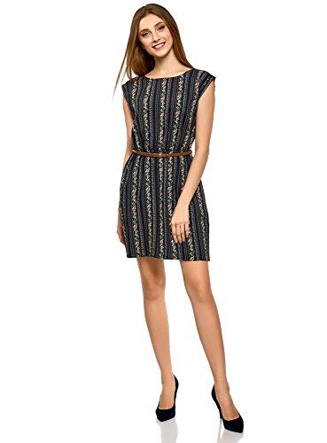 db01fd832975eb oodji Ultra Damen Ärmelloses Kleid aus Bedruckter Viskose, Blau, DE 36 EU  38 S